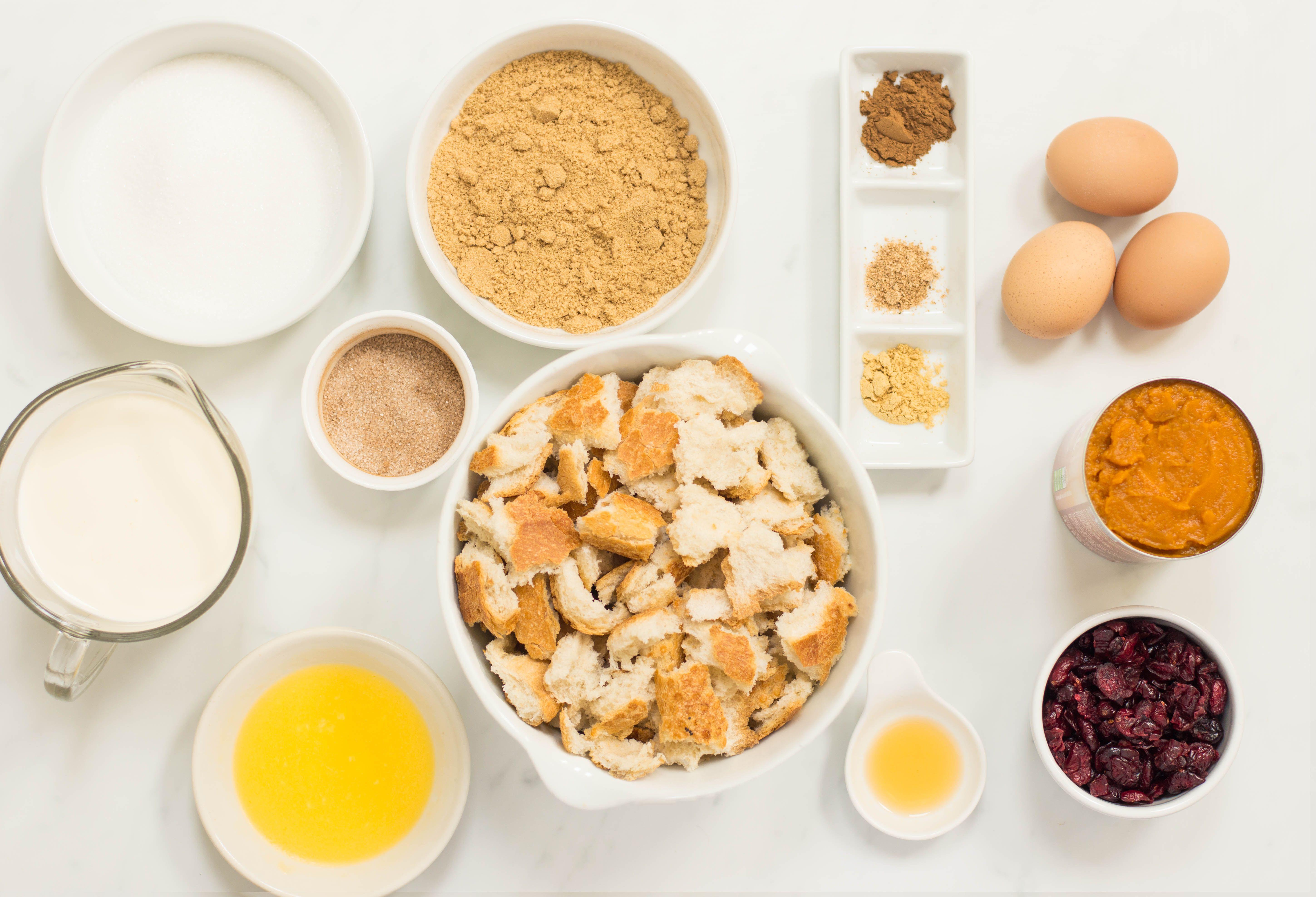 Pumpkin Bread Pudding Recipe ingredients