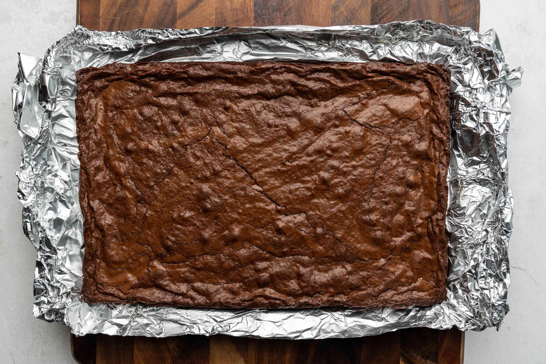 brownie in a baking pan