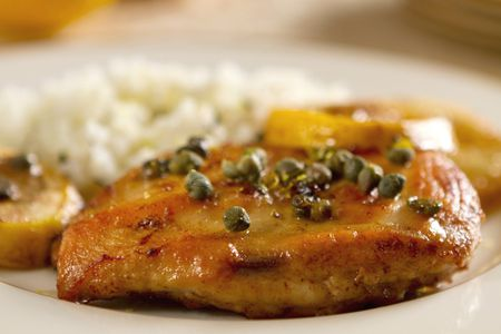 Chicken Piccata With Capers And Mashed Potatoes