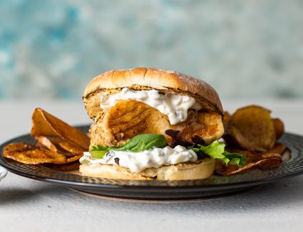 Fried Fish Sandwich With Tartar Sauce and Hand-Cut Chips