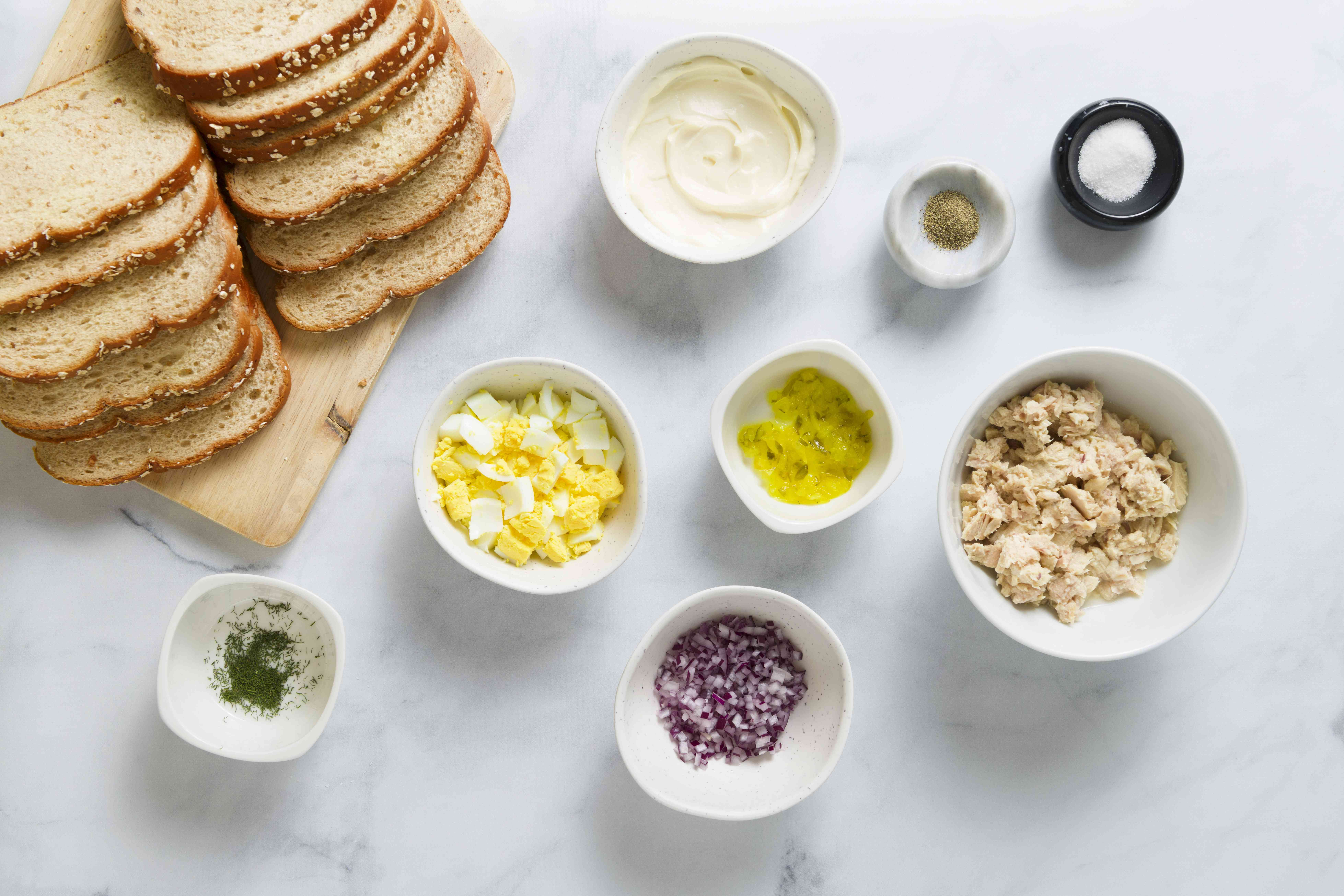 Eggs and dill tuna salad ingredients