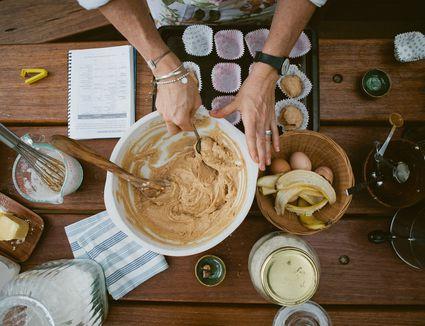 Mixing bowl full of ingredients