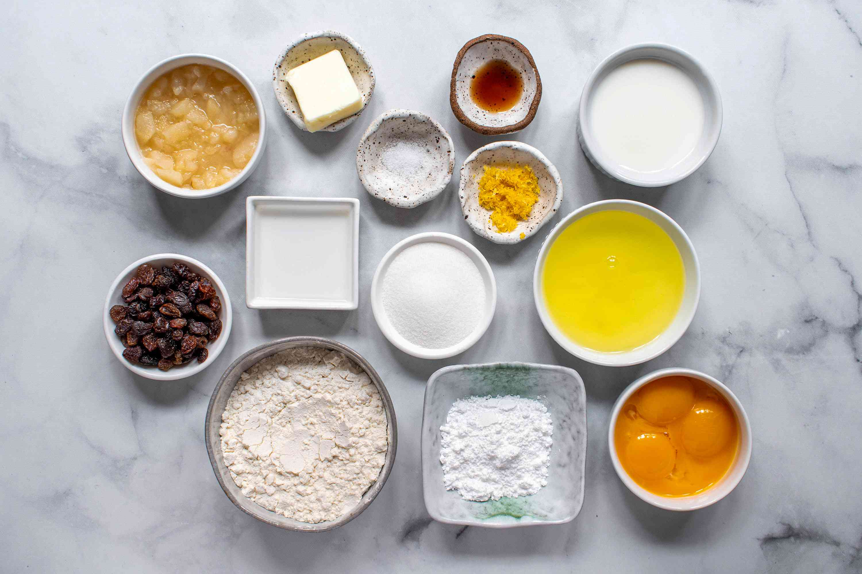 Ingredients for Austrian Pancakes With Raisins (Kaiserschmarrn)