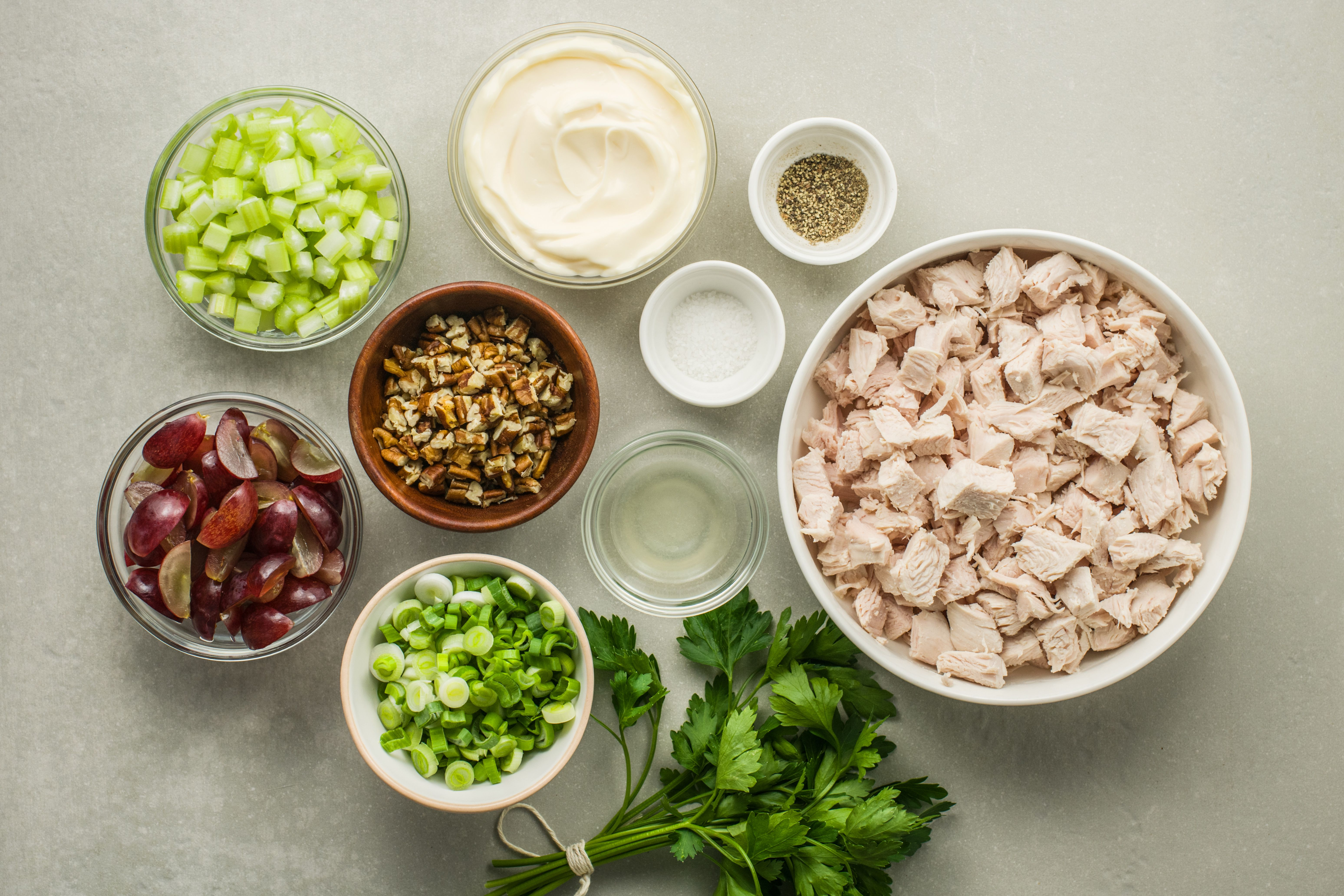 Ingredients for turkey salad with red grapes