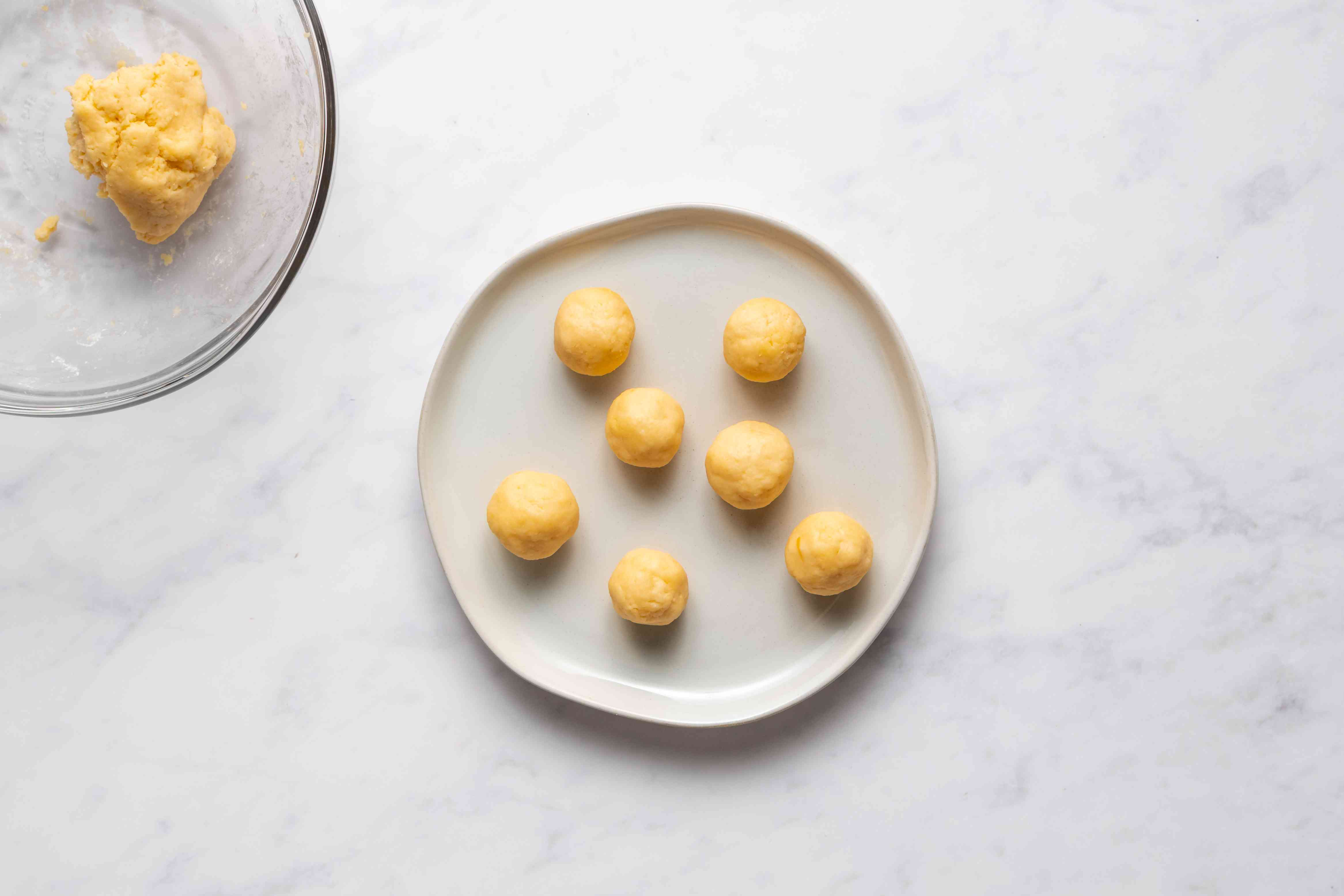 dough balls on a plate
