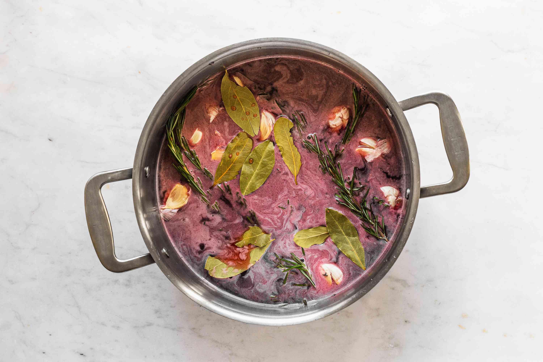 Cranberry Turkey Brine ingredients in a pot