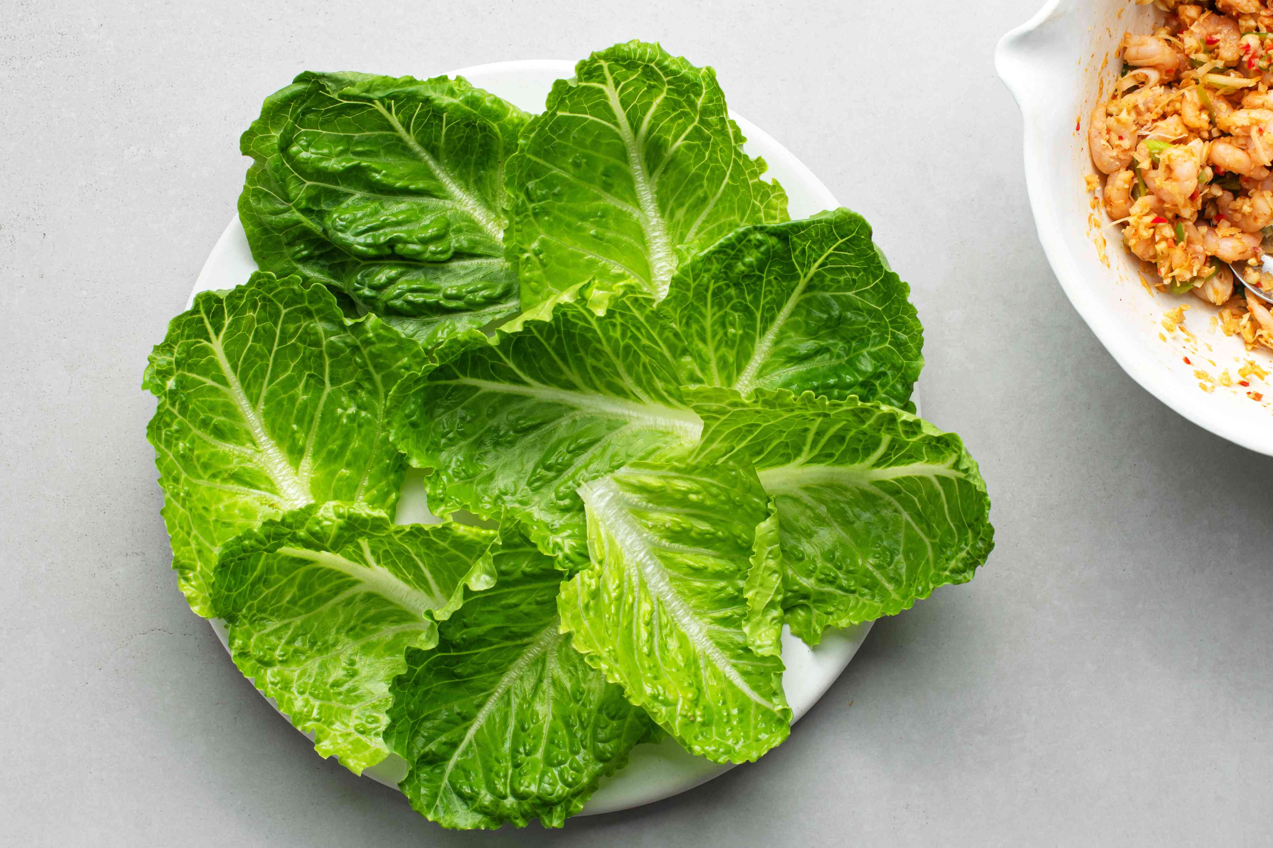 romaine lettuce leaves on a plate