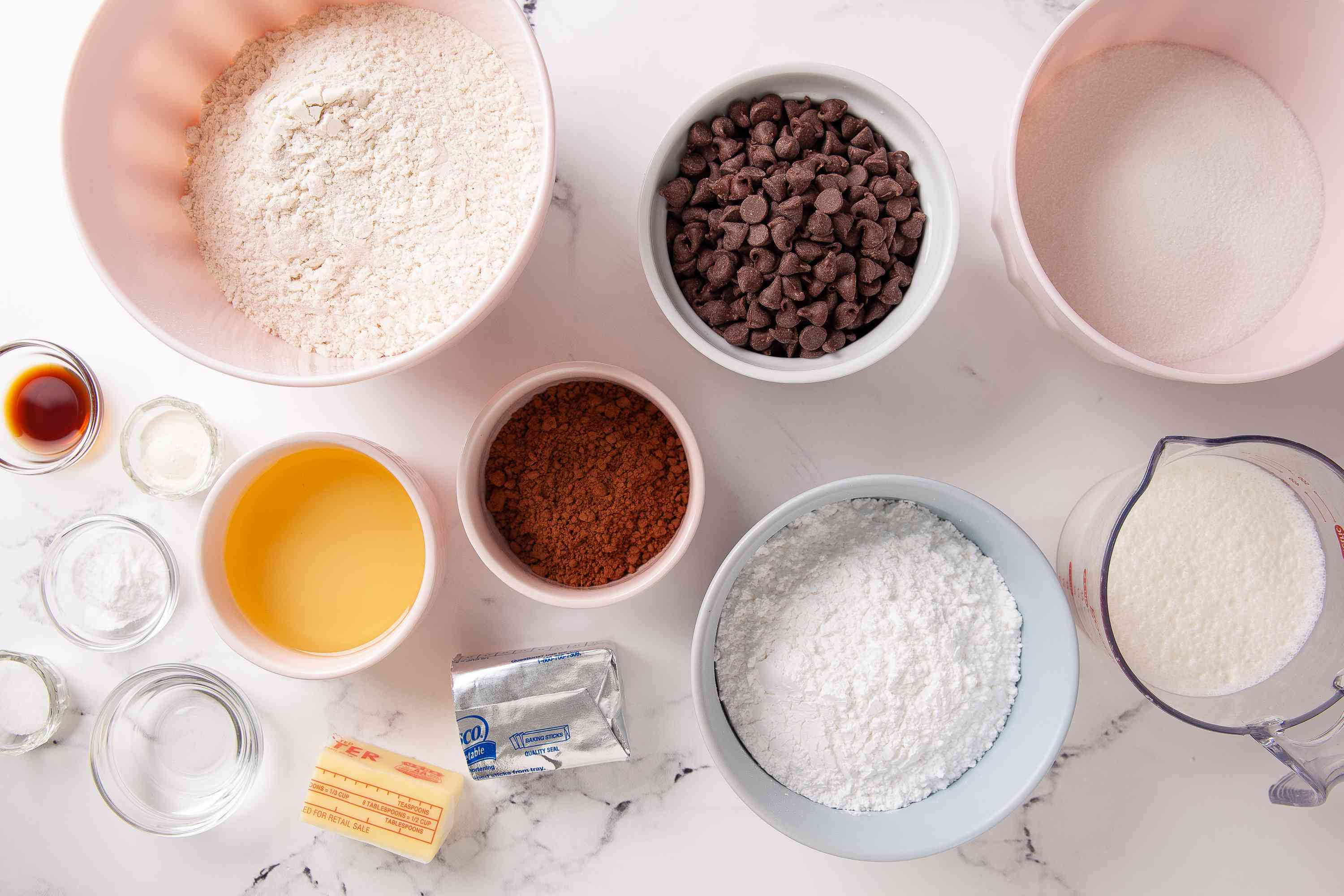 Gather the ingredients for Ding Dong Cake