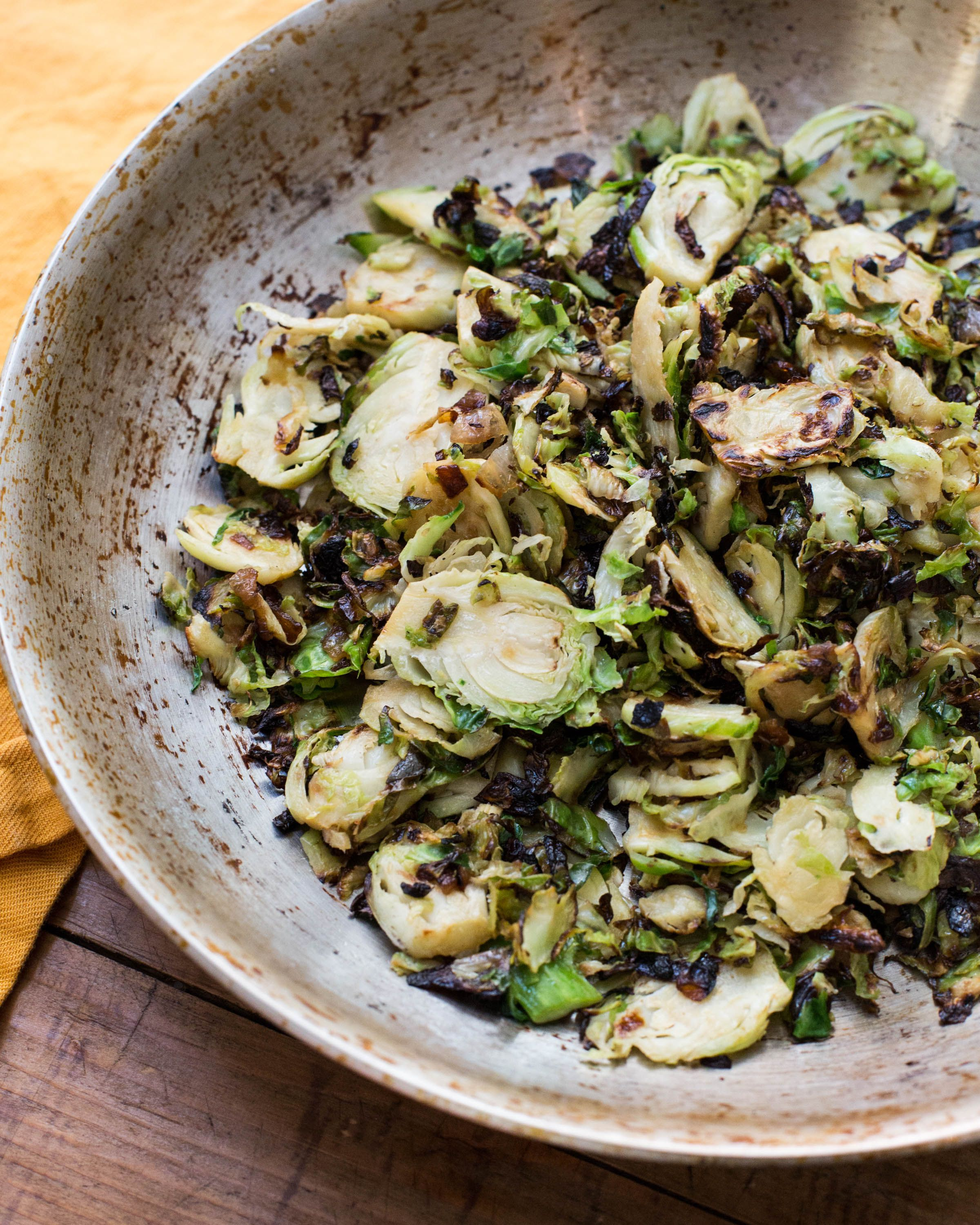 Sautéed Brussels sprouts with onions