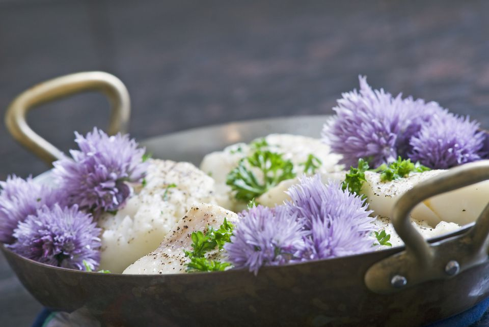 Chive Blossom saute with scallops