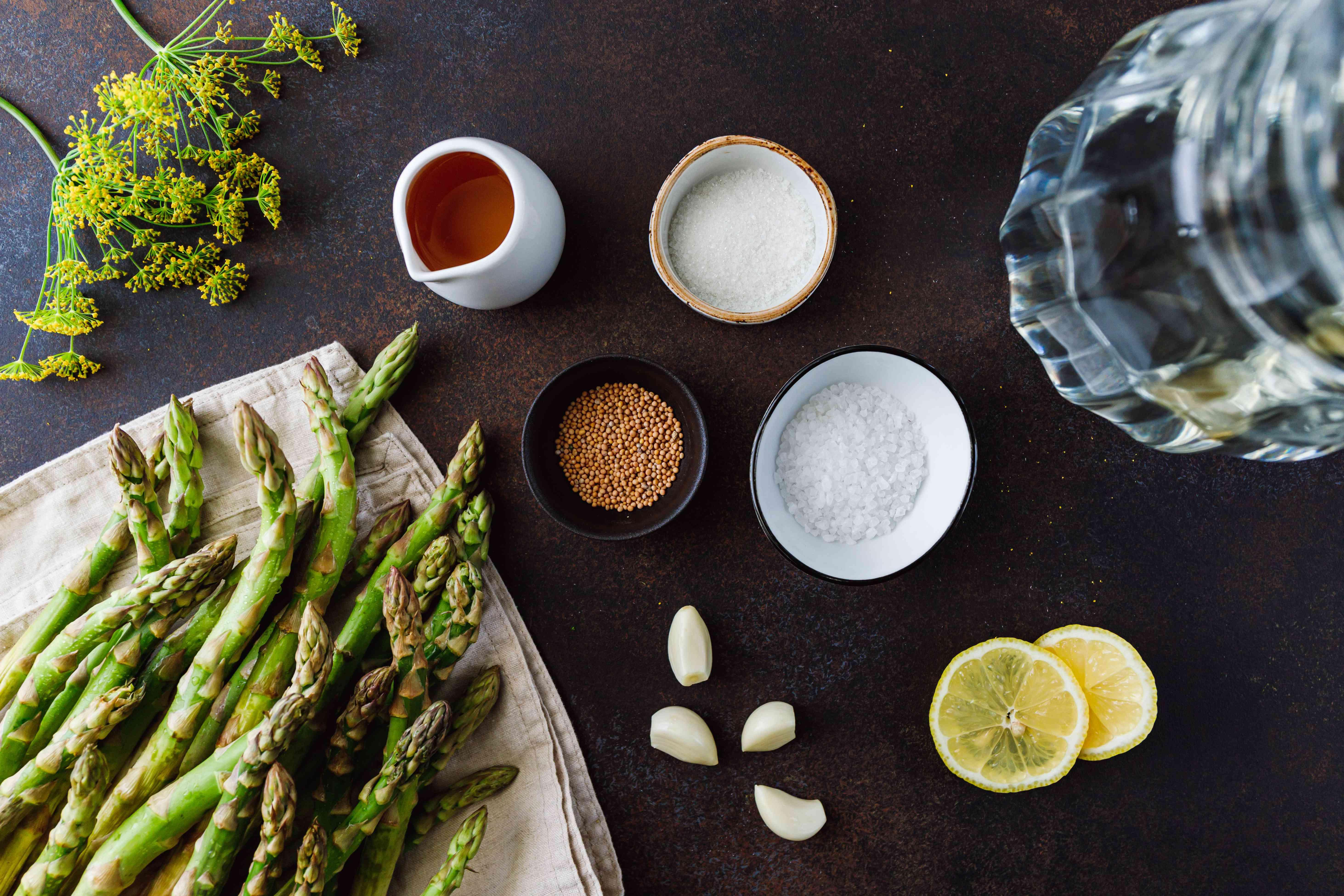 Ingredients for asparagus refrigerator pickled recipe