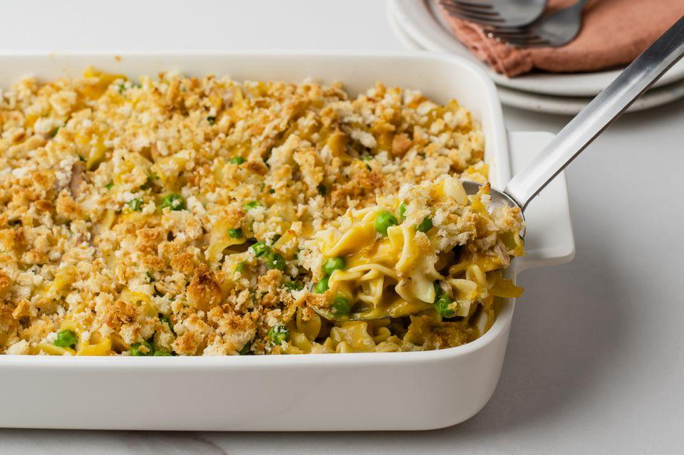 Serve tuna noodle casserole