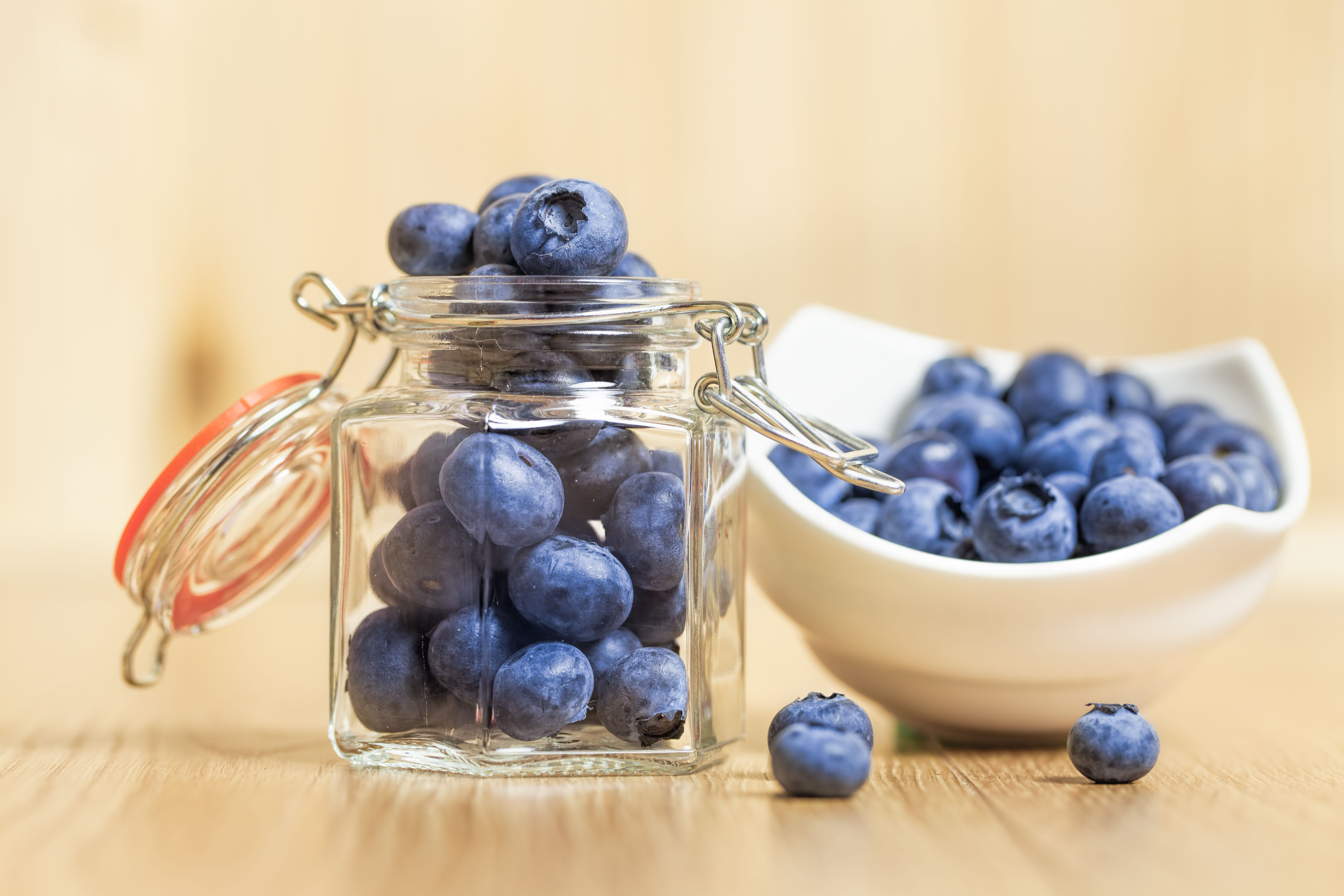 Close-Up Of Fresh Blueberries in a jar