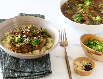 Instant Pot beef and broccoli with rice.