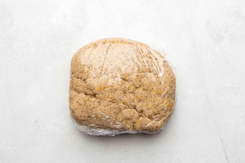 dough in plastic wrap