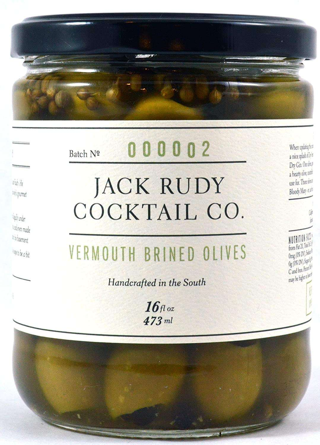 Jack Rudy Cocktail Co. Vermouth Marinated Pitted Olives