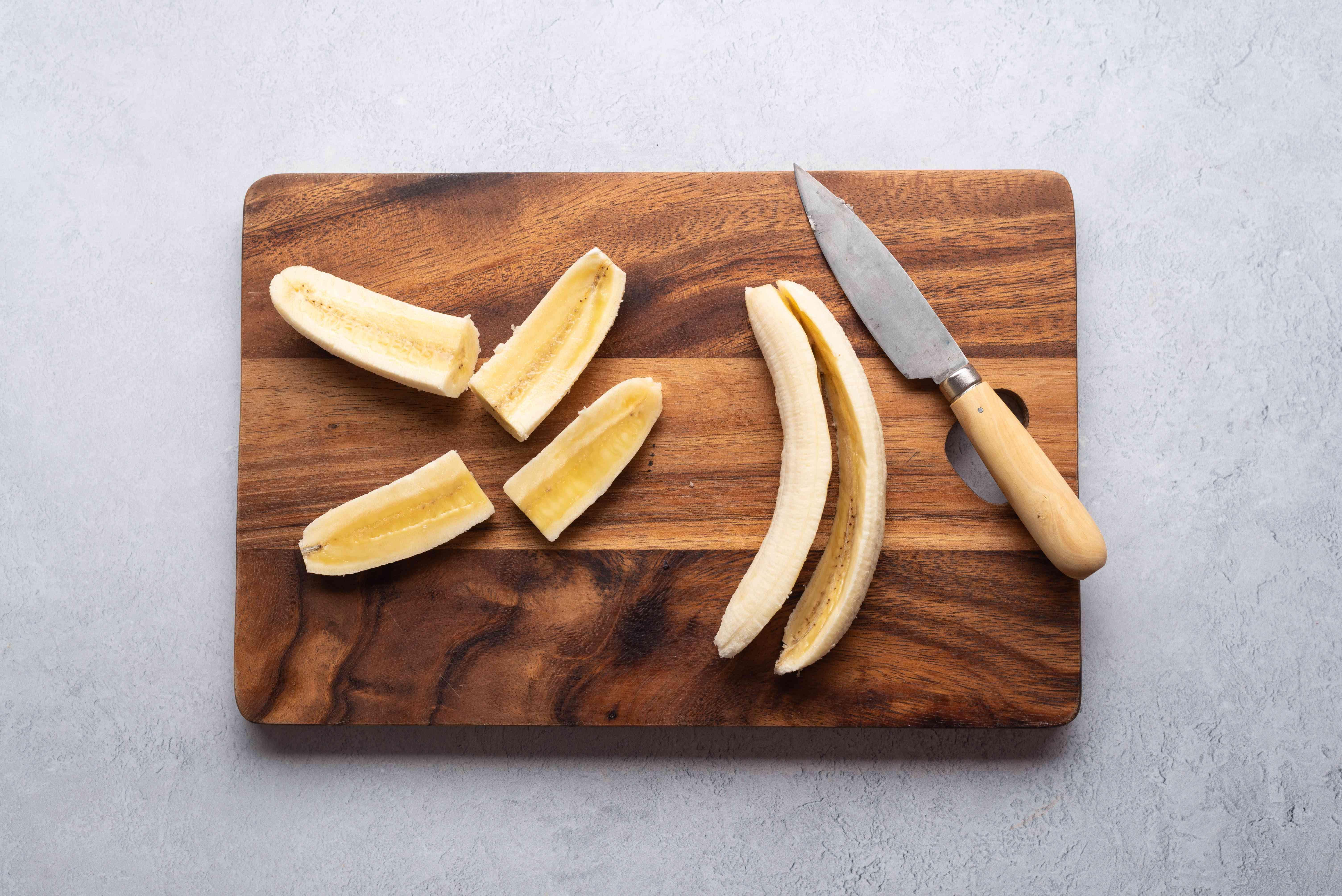 bananas cut into quarters