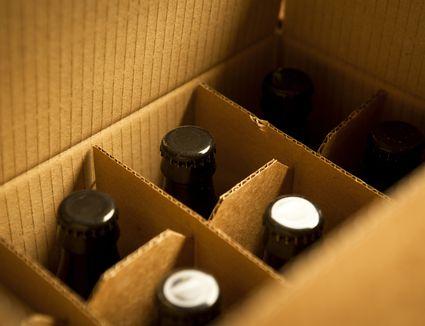 Beer bottles in cardboard box