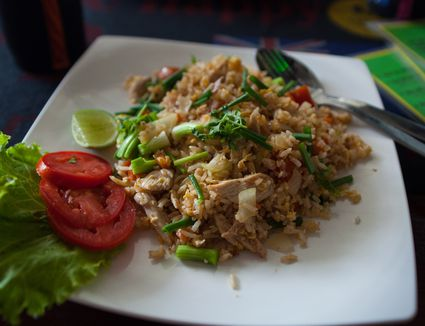 Thai fried rice and chicken