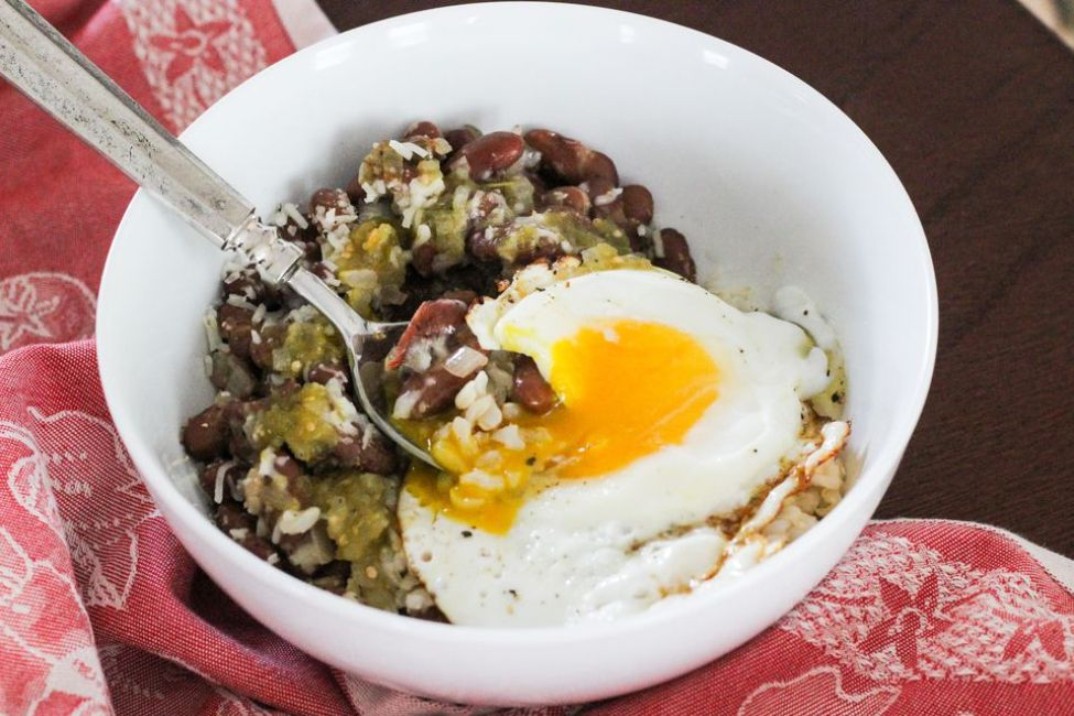 Cheesy Salsa Verde Rice and Beans Breakfast Bowl