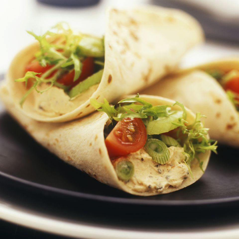 Vegetarian Black Bean and Hummus Sandwich Wrap