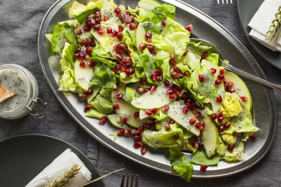 Pomegranate Apple Salad With Poppy Seed Dressing