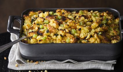 Dish of baked stuffing