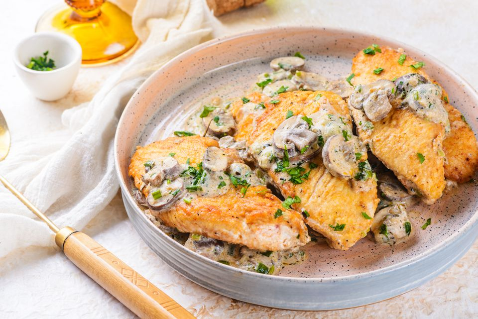 Turkey cutlets with mushrooms