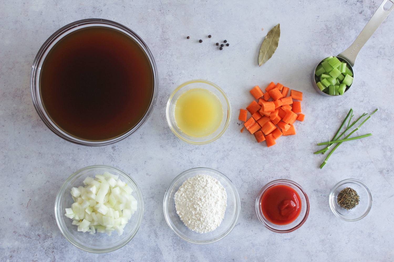 Ingredients for espagnole brown sauce
