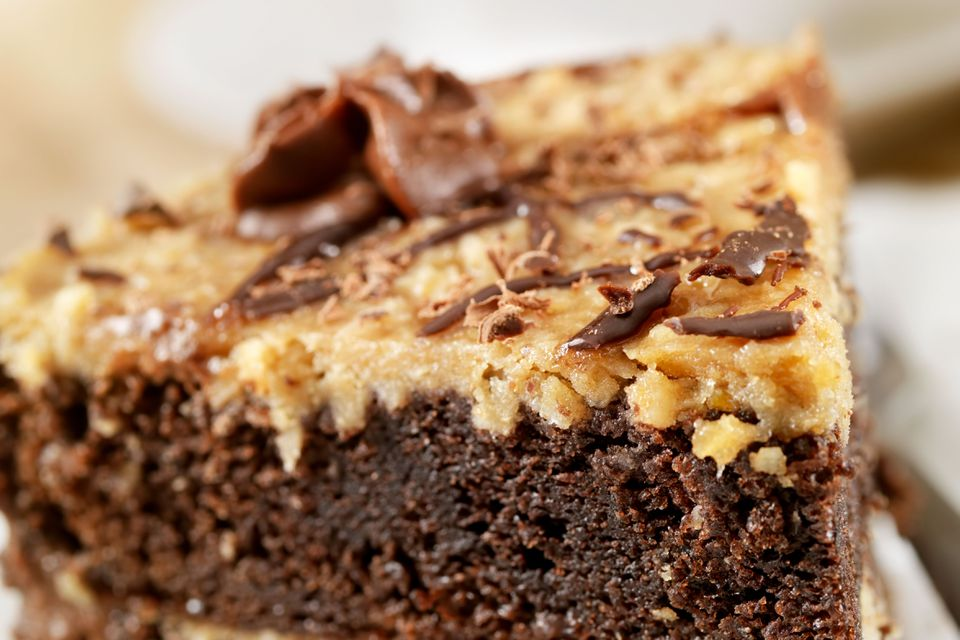German chocolate brownie with frosting