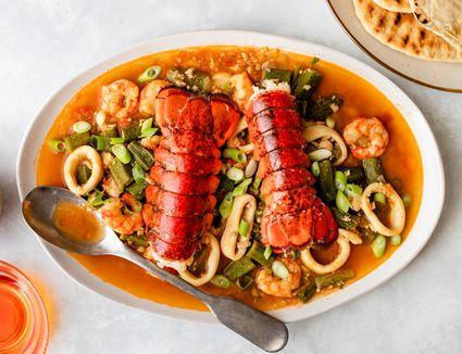 Okra stew with prawns recipe
