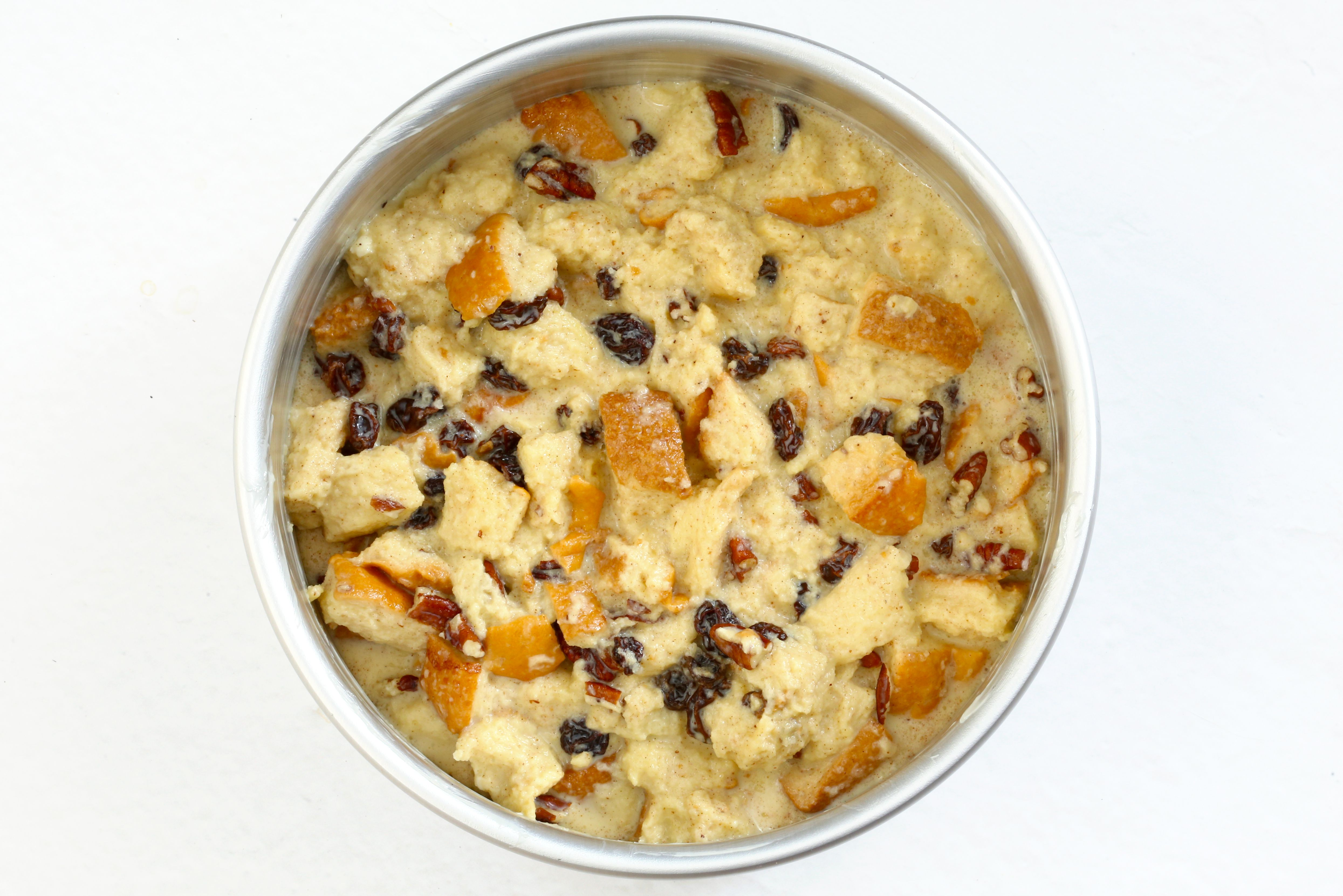 Instant Pot bread pudding in the pan.