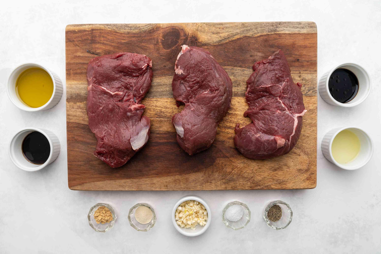 Grilled Lemon-Garlic Elk Steaks ingredients