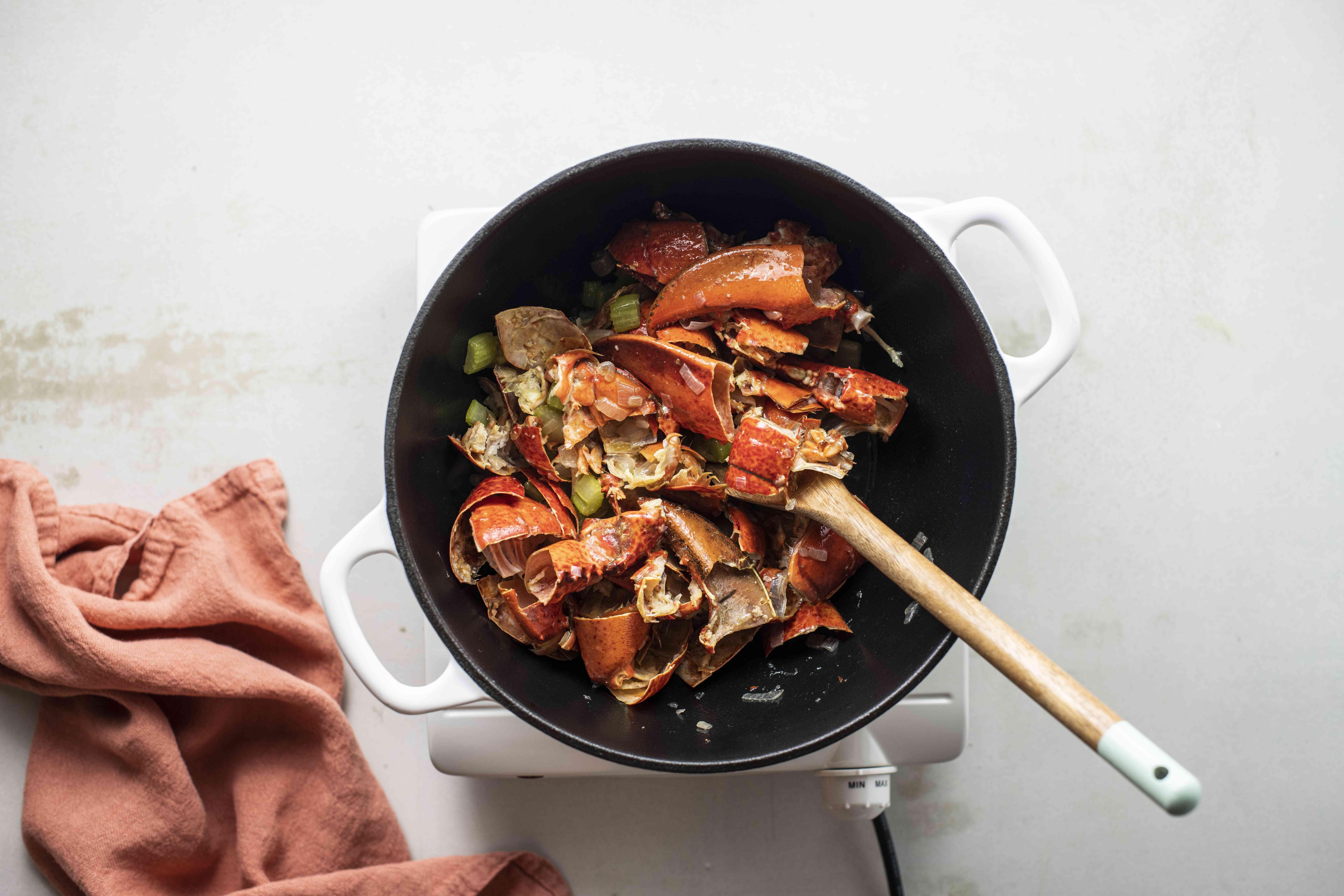 Add lobster shells