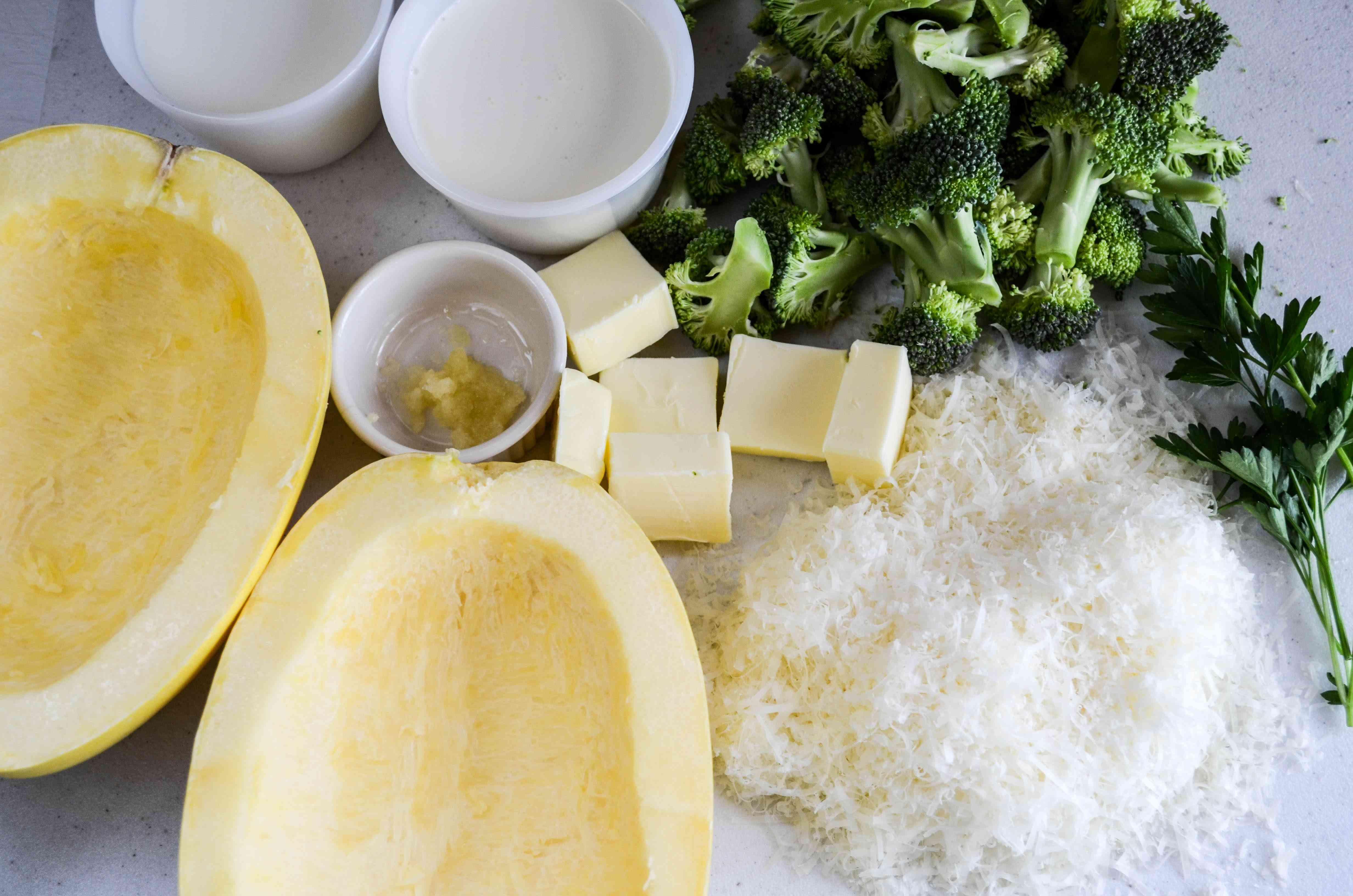 Ingredients for spaghetti squash alfredo