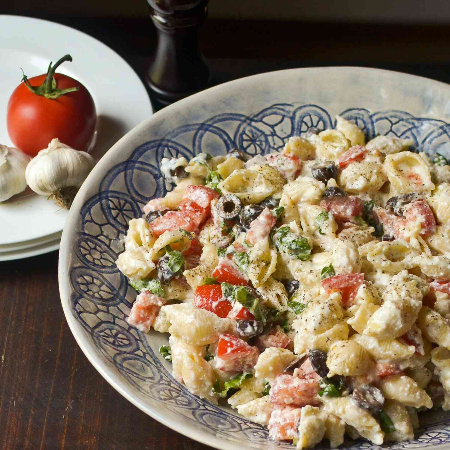 White Bean Pasta With Black Olives and Feta