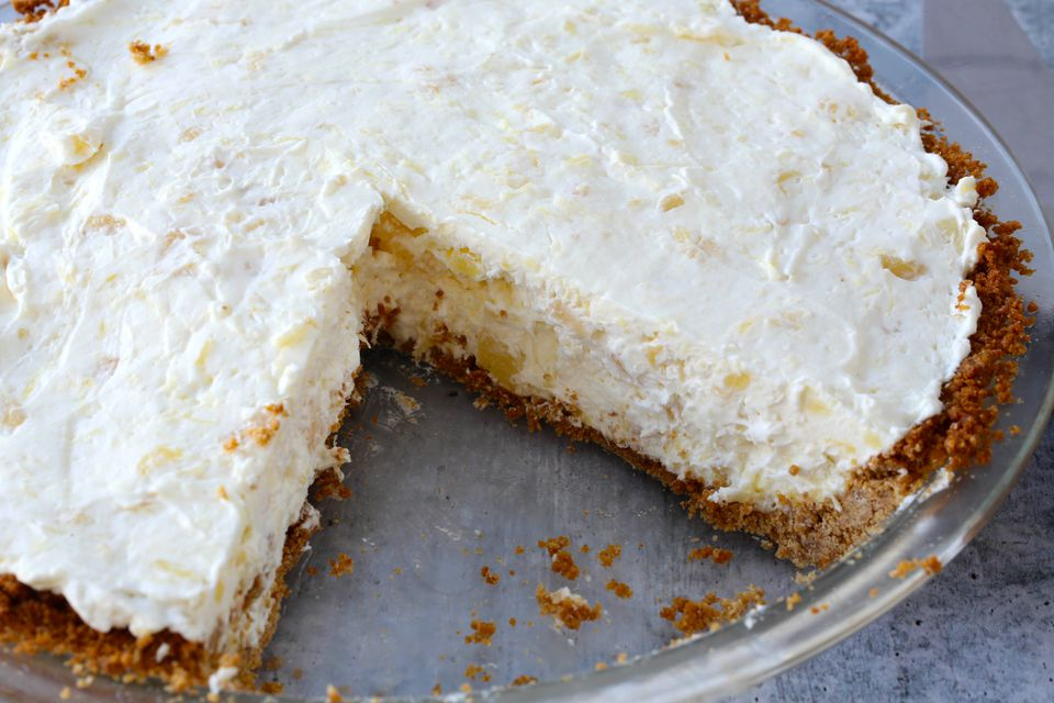 No bake pineapple cream cheese pie.