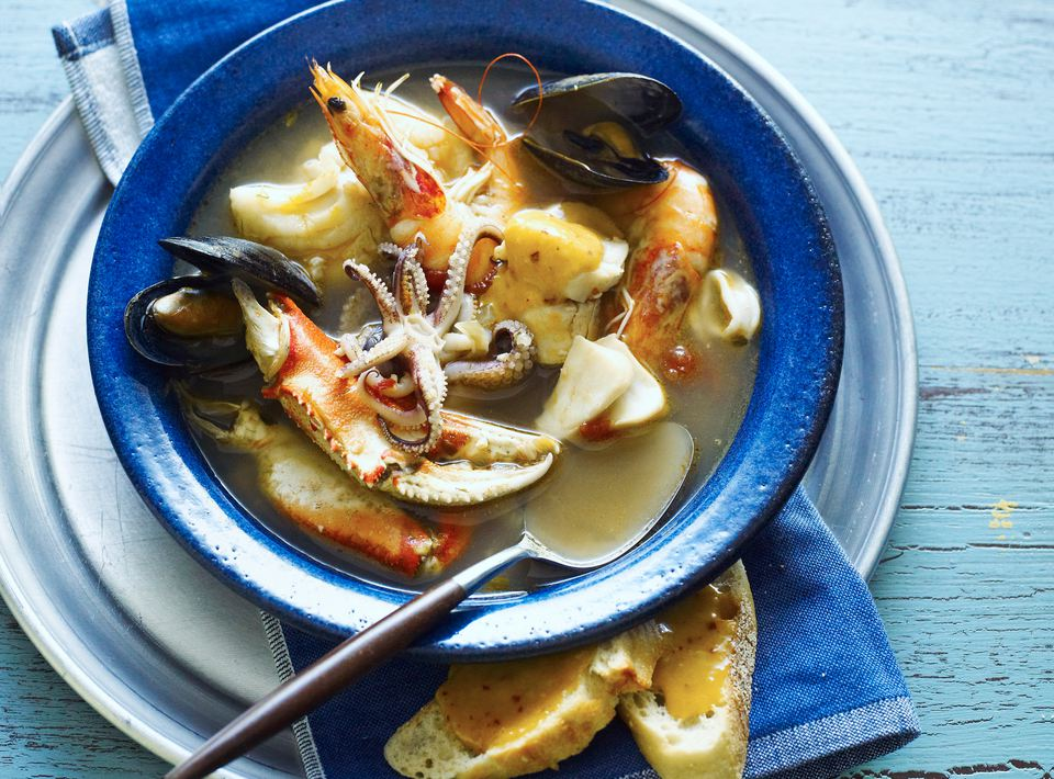 Bouillabaisse with crab, mussels, prawns and baby squid