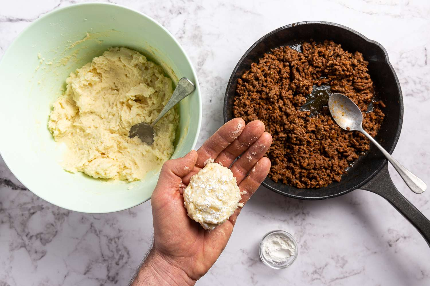 mashed potatoes with ground beef inside