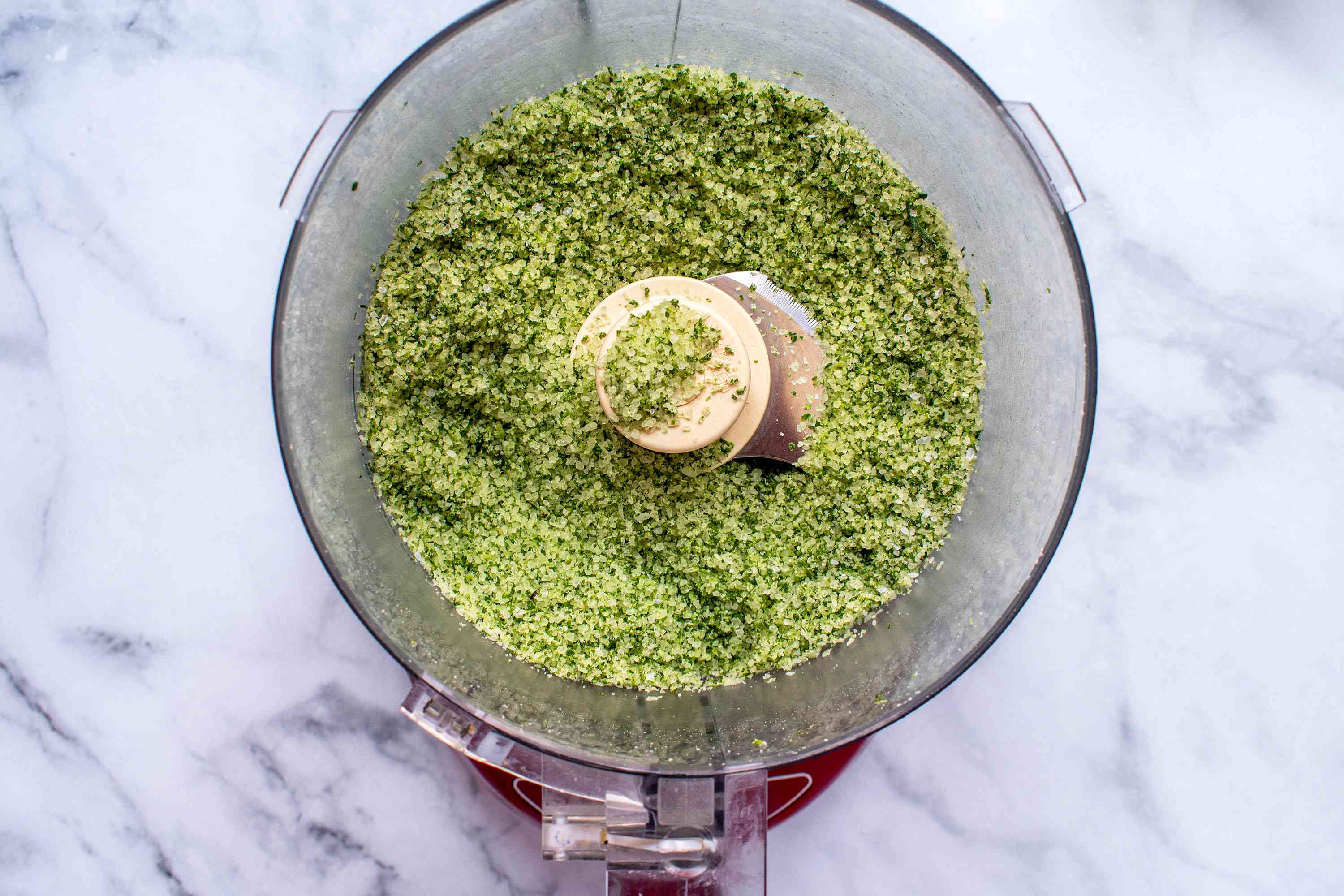 rosemary and salt mixture in a food processor