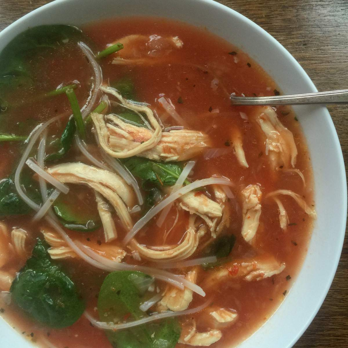 Spicy Thai Chicken and Rice Noodle Soup