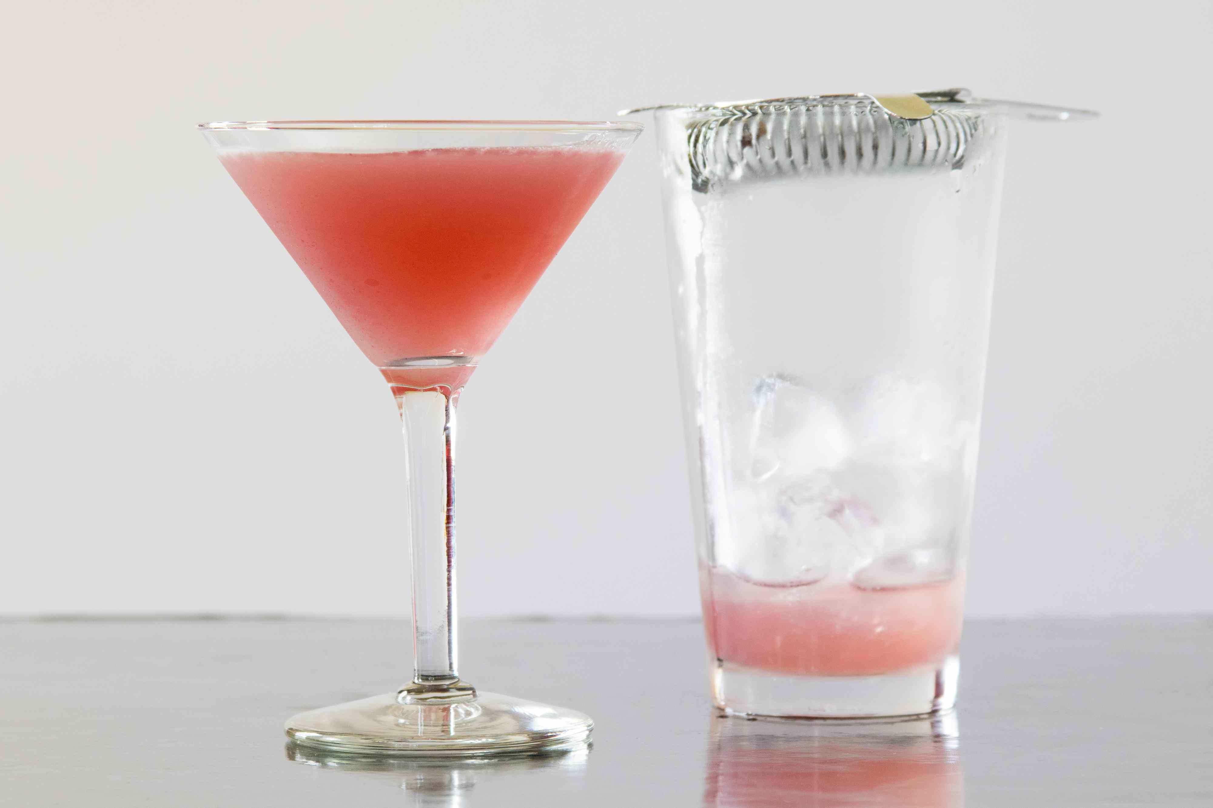 Straining a Pomegranate Martini