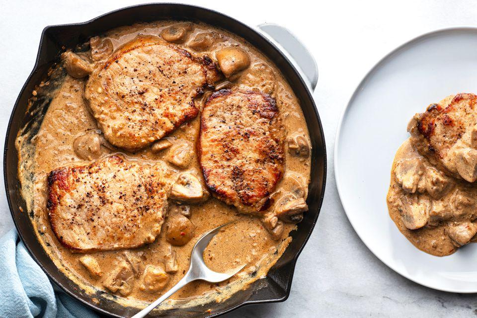 Pork Loin Steaks With Mushroom Stroganoff Sauce