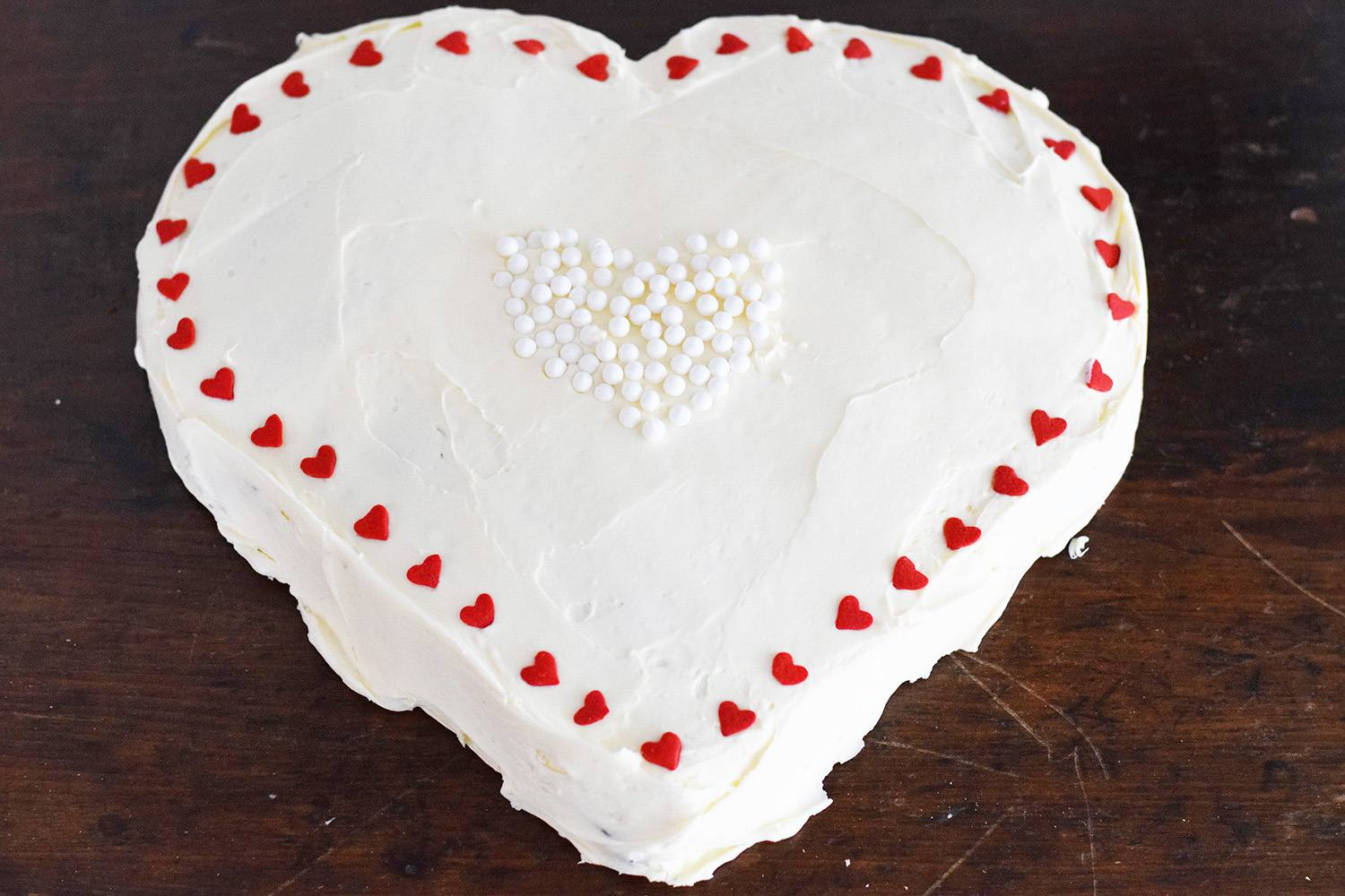 Heart cake with decorations