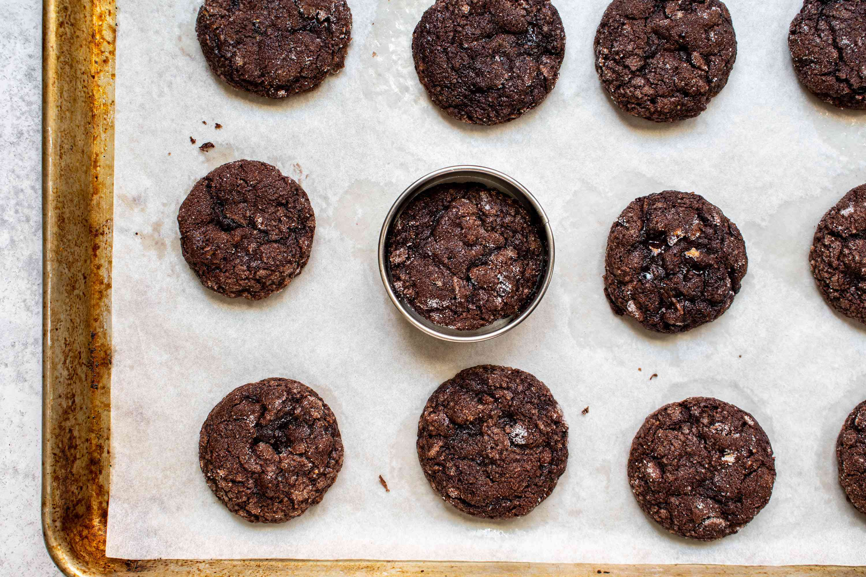 German Chocolate Cookies on a baking sheet