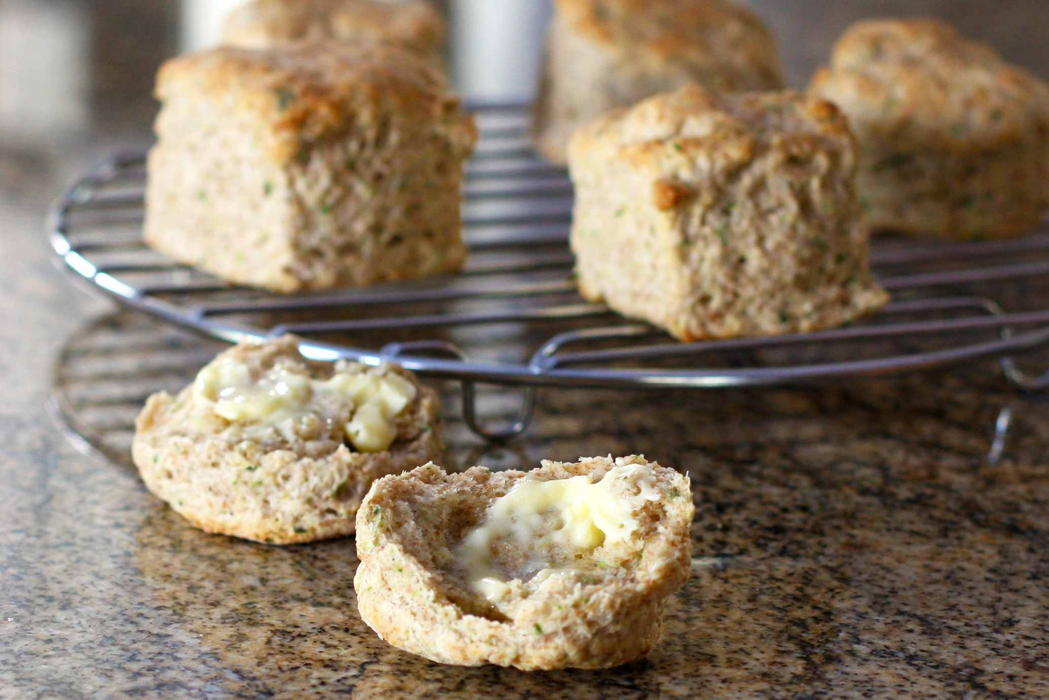 Whole wheat and scallion biscuit