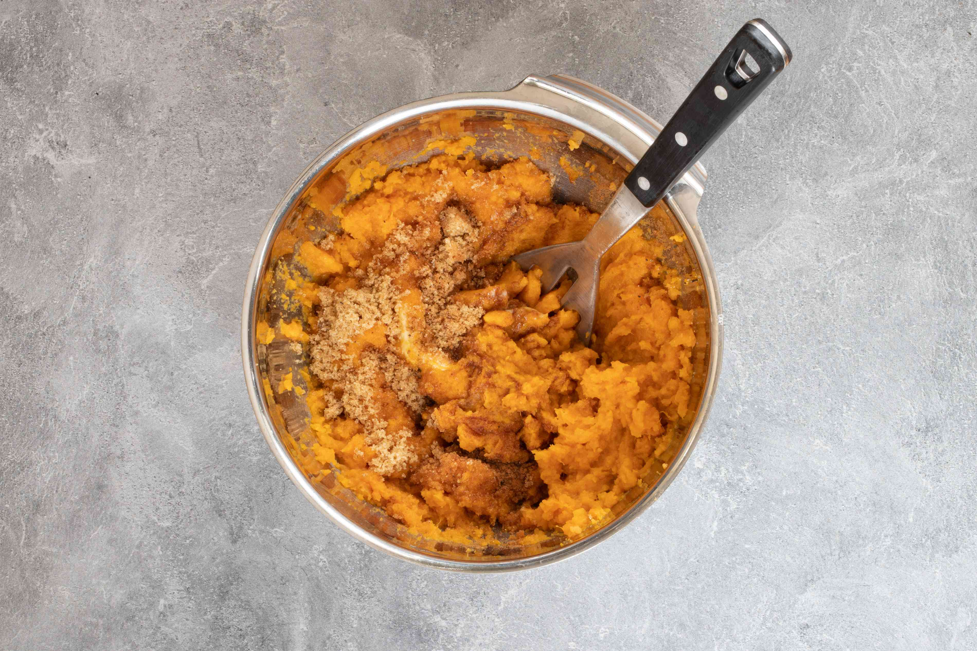 fFilling for twice-baked sweet potatoes in a mixing bowl