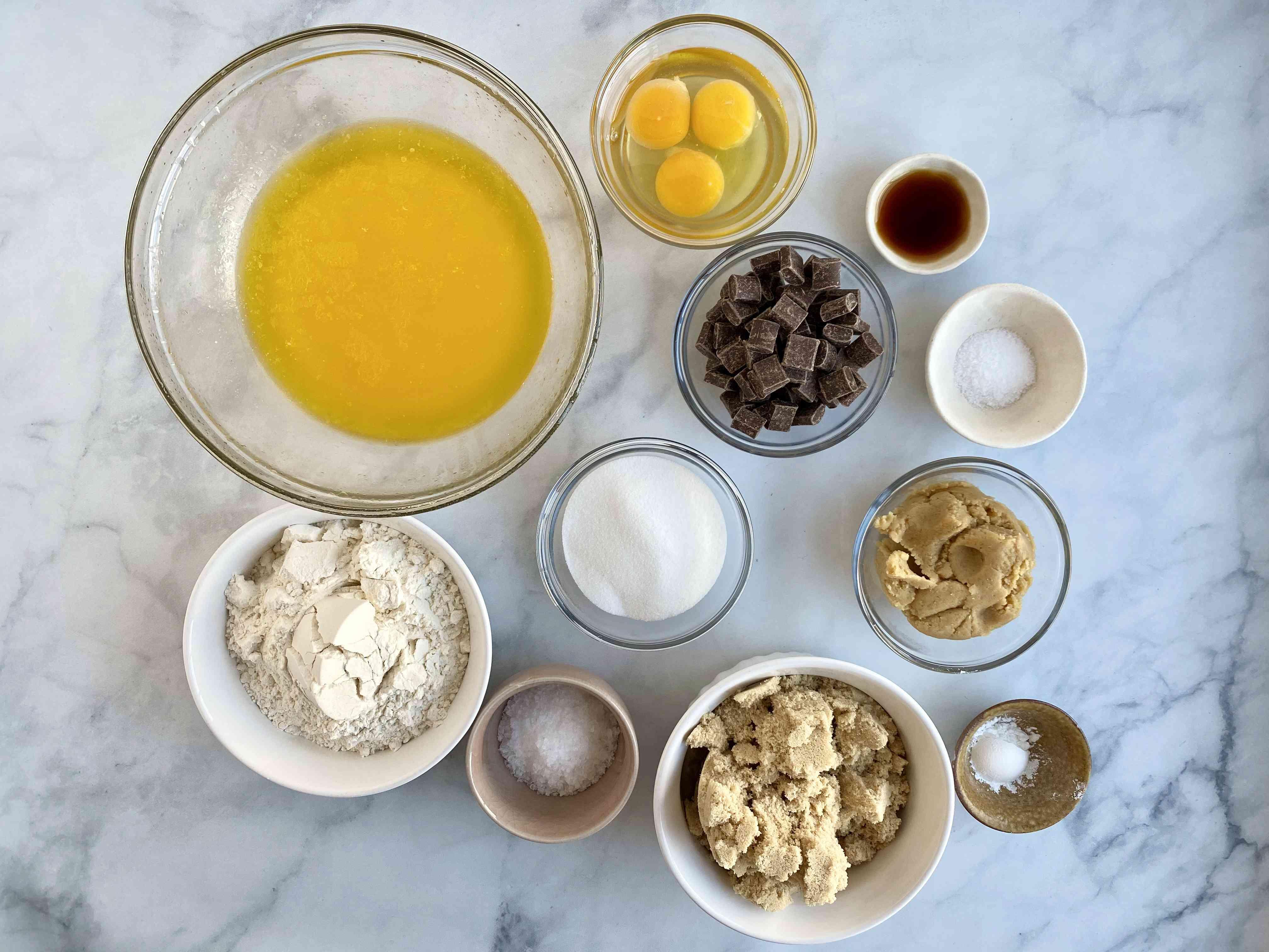 ingredients for miso blondies