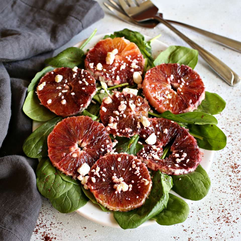 Spinach, Feta and Blood Orange Salad with Orange Sumac Dressing
