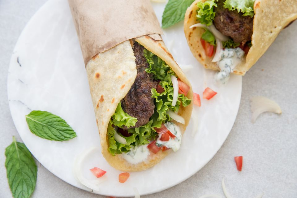 Easy Homemade Gyros recipe, gyros on a white plate